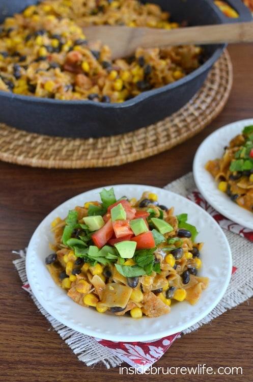 Chicken Nacho Supreme Skillet - chicken, beans, and corn added to @EatLiquidGold Velveeta Cheesy Skillets for a delicious nacho dinner win  #ad #whatmyskilletisfor
