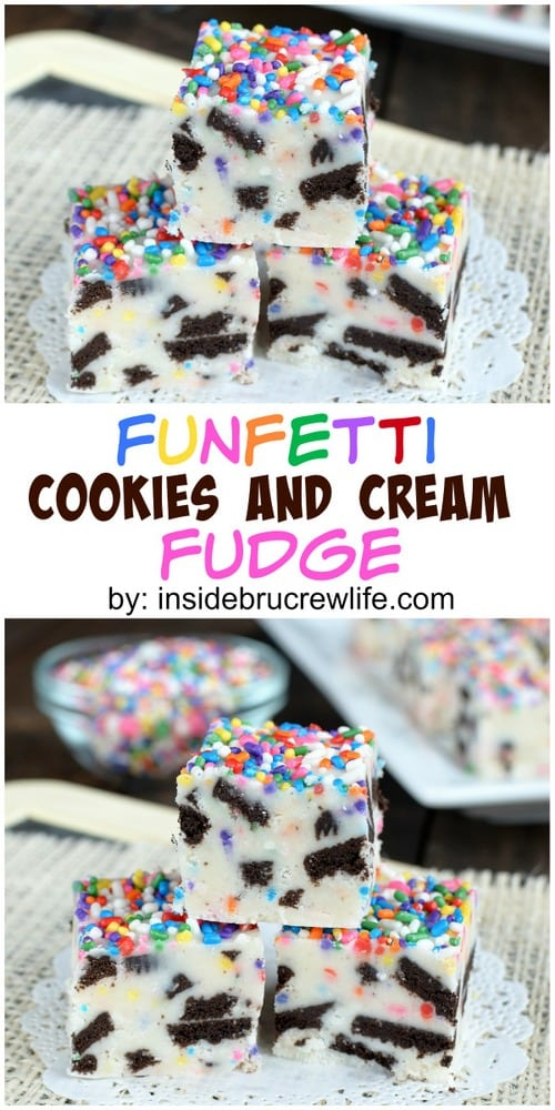 This easy vanilla fudge is loaded with Oreo cookies and sprinkles making it so fun to eat and share