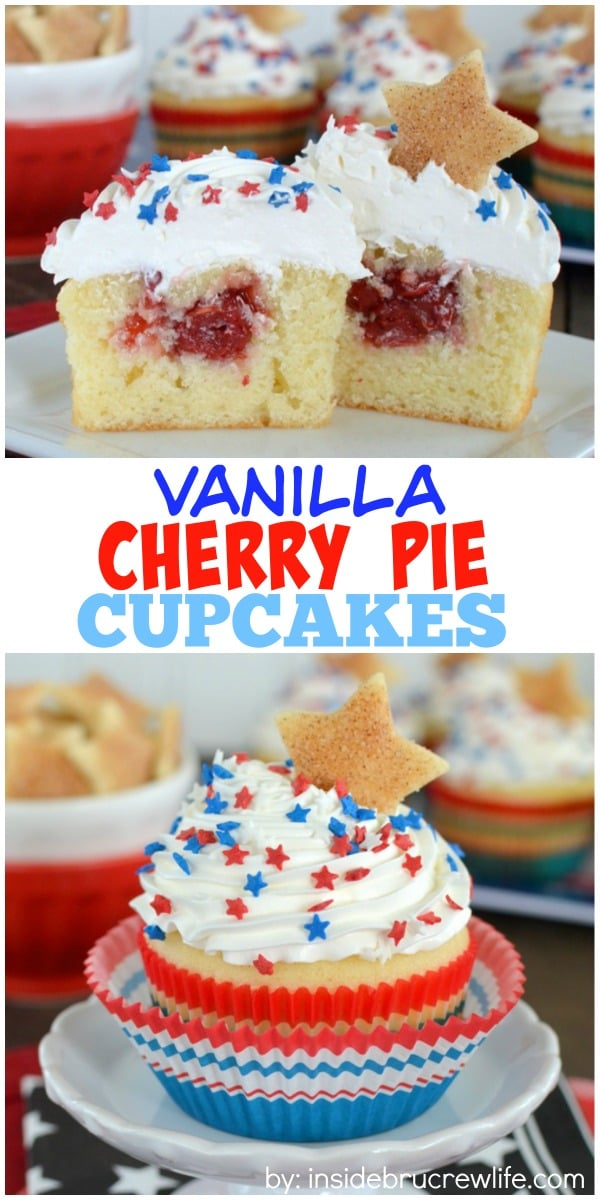 Vanilla Cherry Pie Cupcakes - a hidden cherry pie filling makes these easy homemade cupcakes a delicious summer treat! Great recipe for picnics and parties!