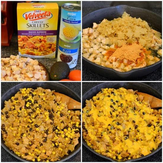 Chicken Nacho Supreme Skillet - this VELVEETA Nacho Skillet has chicken, corn, and beans for the ultimate nacho pasta dinner @liquidgold #ad #whatmyskilletisfor
