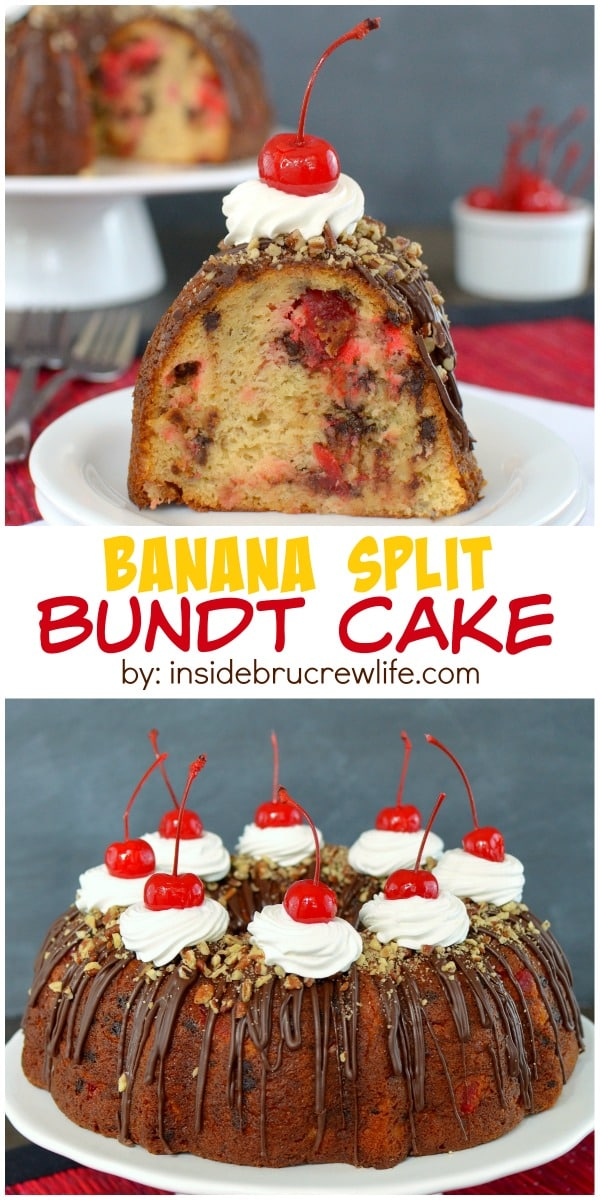 Adding cherries, chocolate chips, and ice cream make this banana split bundt cake an amazing treat!