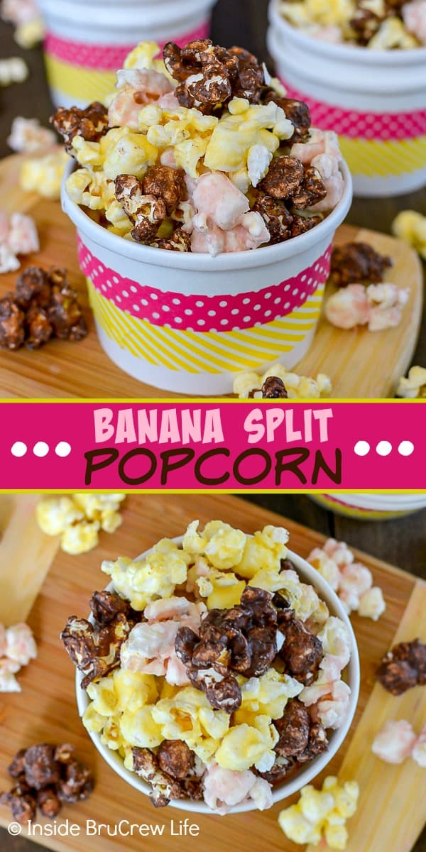 Two pictures of chocolate, strawberry, and banana popcorn and a pink block with text in the middle
