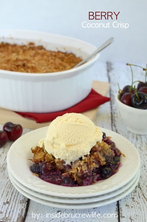 Berry Coconut Crisp - cherries and blueberries topped with a coconut crisp topping