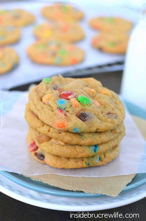 These cookies have twice the butterscotch flavor and M&M candies!  My kids devoured these cookies!