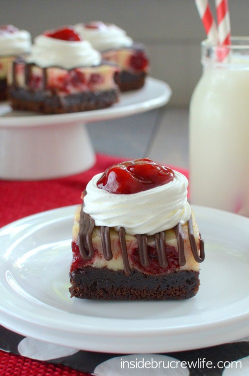 Cherry Cheesecake Brownies - fudge brownies topped with a cherry swirl cheesecake layer