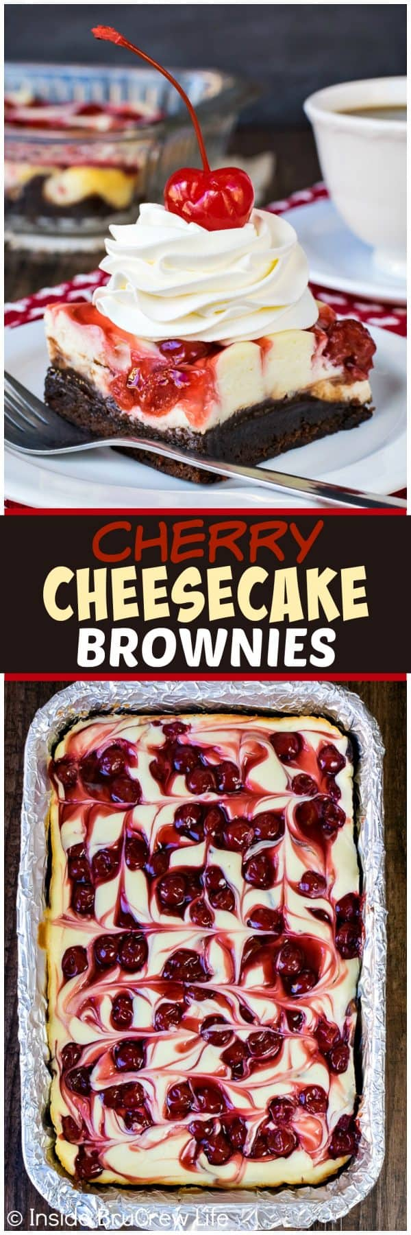 Cherry Cheesecake Brownies - swirls of pie filling and cheesecake on a fudgy brownie crust makes an impressive dessert. Easy recipe for dinner parties! #cheesecake #brownies #cherry #holiday #dessert #easyrecipe #piefilling