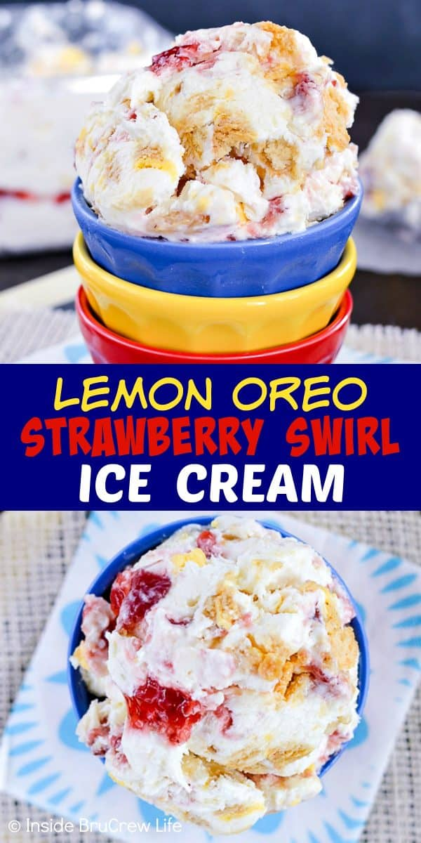 Lemon Oreo Strawberry Swirl Ice Cream - this easy no churn lemon ice cream is loaded with cookie chunks and strawberry swirls. Make this recipe for hot summer days! #icecream #lemon #homemade #nochurn #strawberry #summerdessert