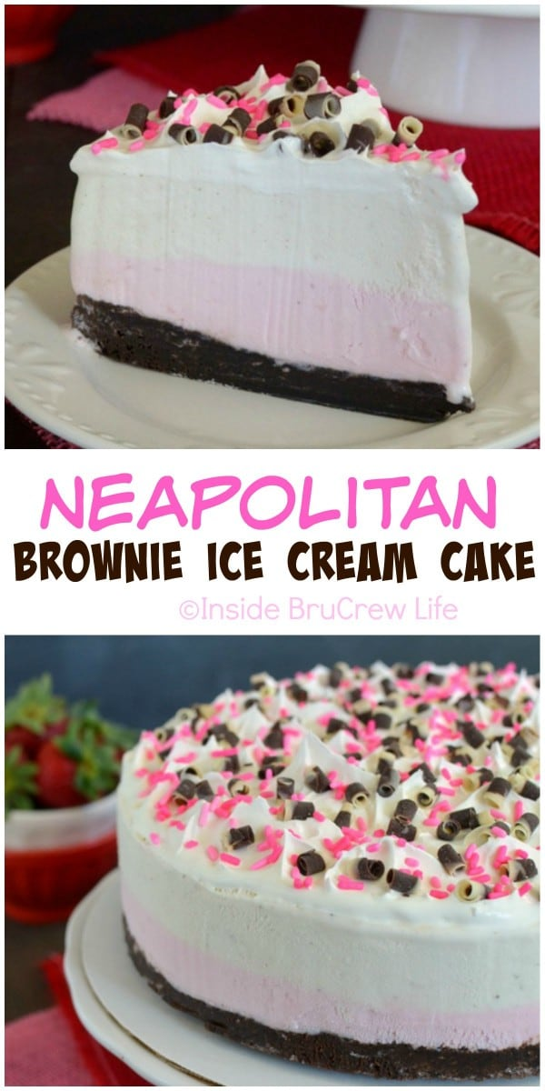 Layers of chocolate brownie and vanilla and strawberry ice cream makes this neapolitan cake perfect for summer dessert.