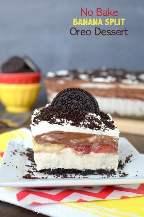 No Bake Banana Split Oreo Dessert - easy no bake cheesecake that's perfect for any picnic