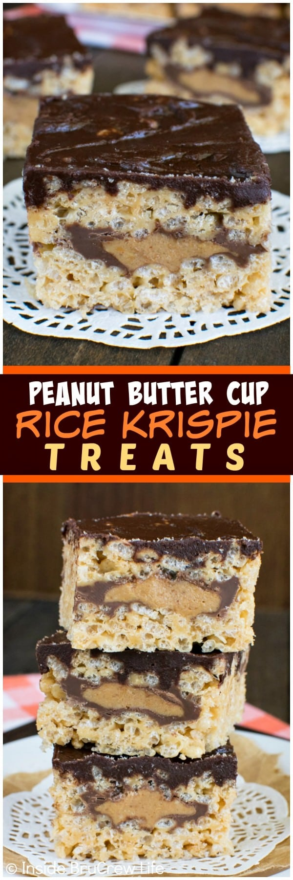 Peanut Butter Cup Rice Krispie Treats - these easy no bake treats have a hidden layer of candy bars inside. Make this dessert recipe for picnics and parties and watch everyone smile!