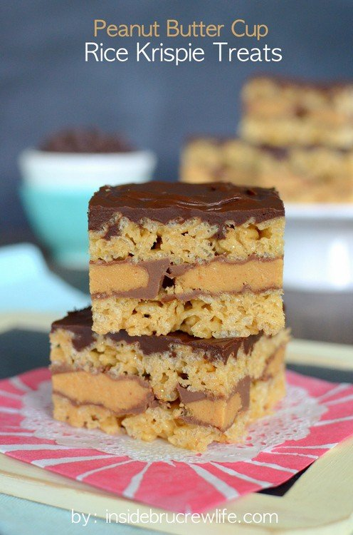 Chocolate Peanut Butter Cup Layered Krispie Treats Recipes ...