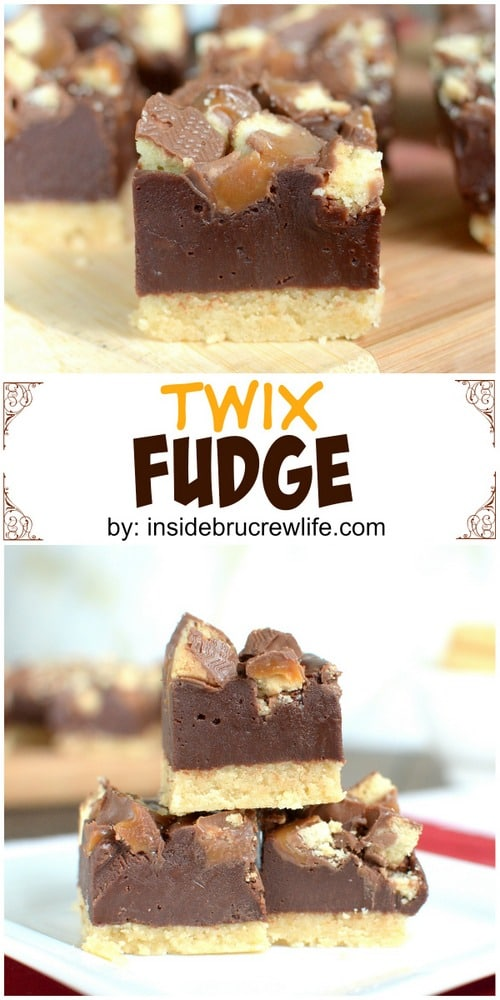 Twix Fudge - easy chocolate fudge full of Twix candy bars