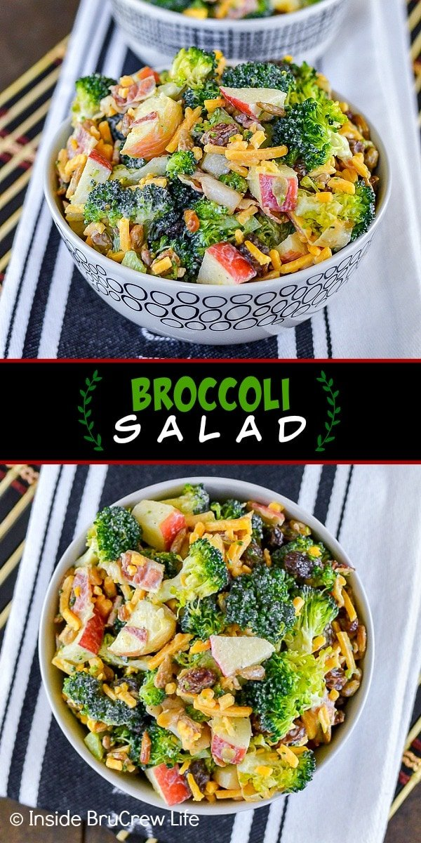 Two pictures of broccoli salad collaged together with a black text box