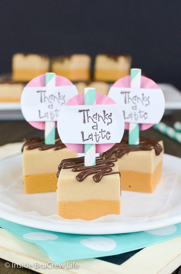 Caramel Coffee Fudge - caramel and coffee fudge layers with extra chocolate drizzles is a fun no bake treat for holiday parties!