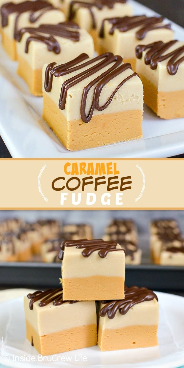 Caramel Coffee Fudge - chocolate drizzles add a sweet and pretty look to the layers of caramel and coffee fudge. Make this easy no bake recipe for holiday parties!