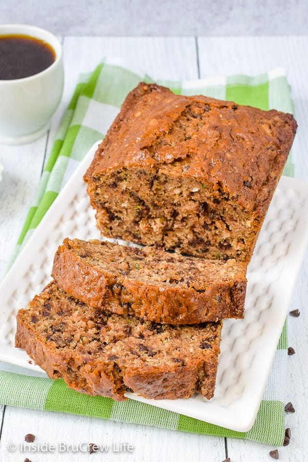 Best Chocolate Chip Zucchini Bread - the best zucchini bread has lots of chocolate, coconut, and pecans in it. Try this easy recipe and see why it's so good. #zucchini #sweetbread #breakfast #brunch #recipe