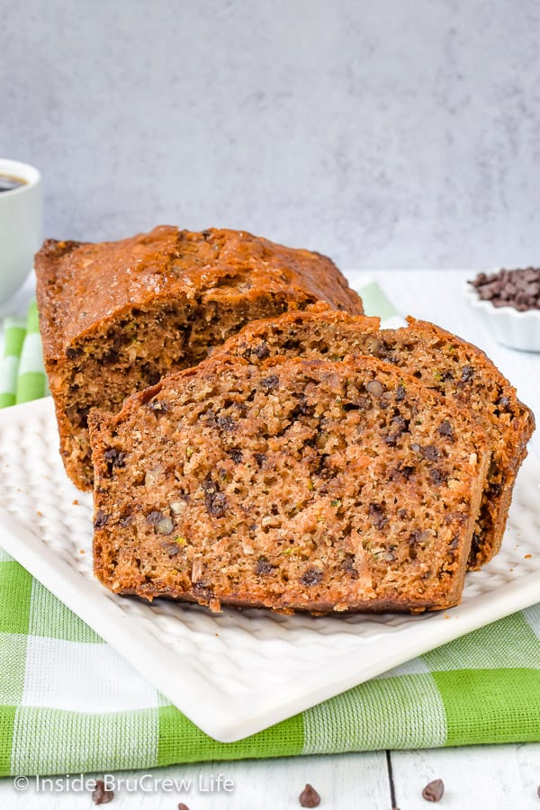 Best Chocolate Chip Zucchini Bread - adding chocolate chips, coconut, and pecans to this easy zucchini bread makes it so amazing. Great recipe to use up the extra veggies from the garden. #zucchini #sweetbread #breakfast #brunch #recipe