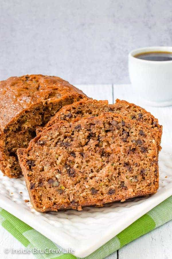 Best Chocolate Chip Zucchini Bread - this sweet bread is loaded with zucchini, chocolate, pecans, and coconut. It's a delicious recipe to use up the extra zucchini from your garden. #zucchini #sweetbread #breakfast #brunch #recipe