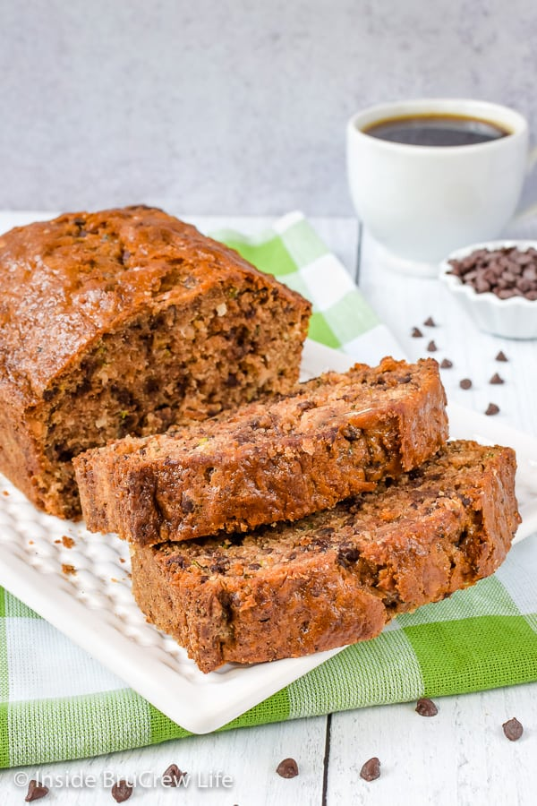 Best Chocolate Chip Zucchini Bread - adding coconut, chocolate chips, and pecans to this sweet zucchini bread makes it the best. Make this easy recipe and enjoy it with your coffee for breakfast. #zucchini #sweetbread #breakfast #brunch #recipe