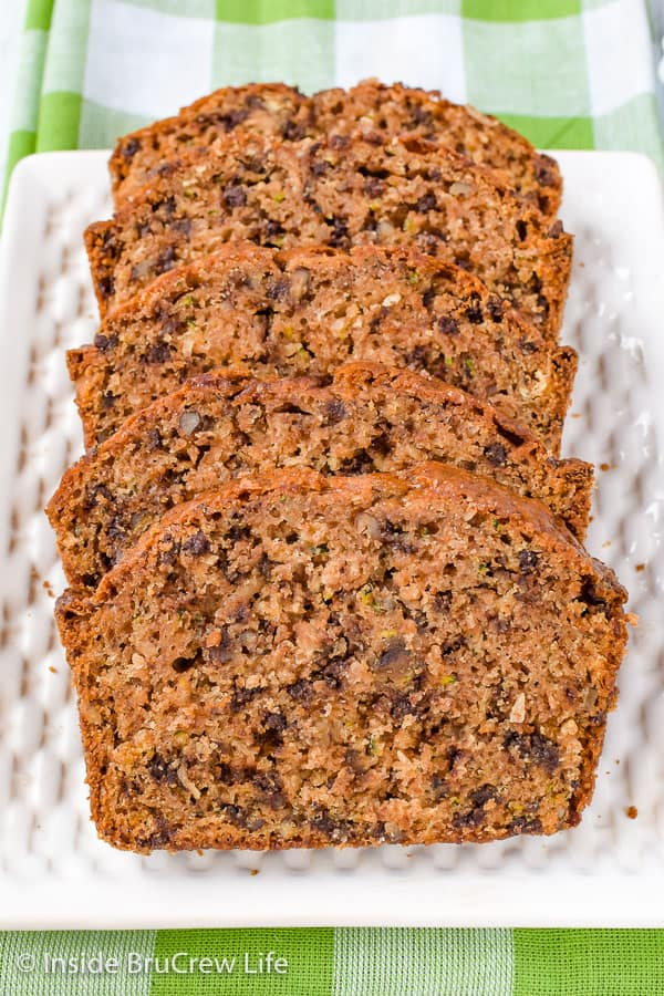 Best Chocolate Chip Zucchini Bread - this easy zucchini bread is loaded with chocolate chips, pecans, and coconut. It's such a great recipe to enjoy for breakfast. #zucchini #sweetbread #breakfast #brunch #recipe