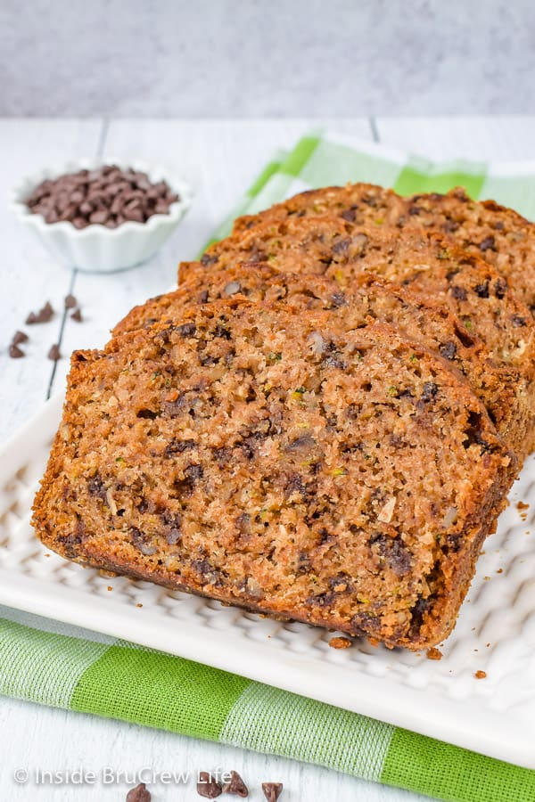Best Chocolate Chip Zucchini Bread - a loaf of this sweet bread is a great way to use up extra zucchinis from your garden. Try this easy recipe and enjoy it for breakfast. #zucchini #sweetbread #breakfast #brunch #recipe