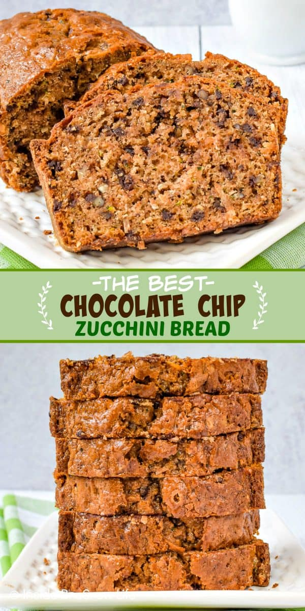 Best Chocolate Chip Zucchini Bread - adding chocolate, pecans, and coconut to this sweet bread makes this the best zucchini bread. Make this easy recipe and enjoy it for breakfast. #zucchini #sweetbread #breakfast #brunch #recipe