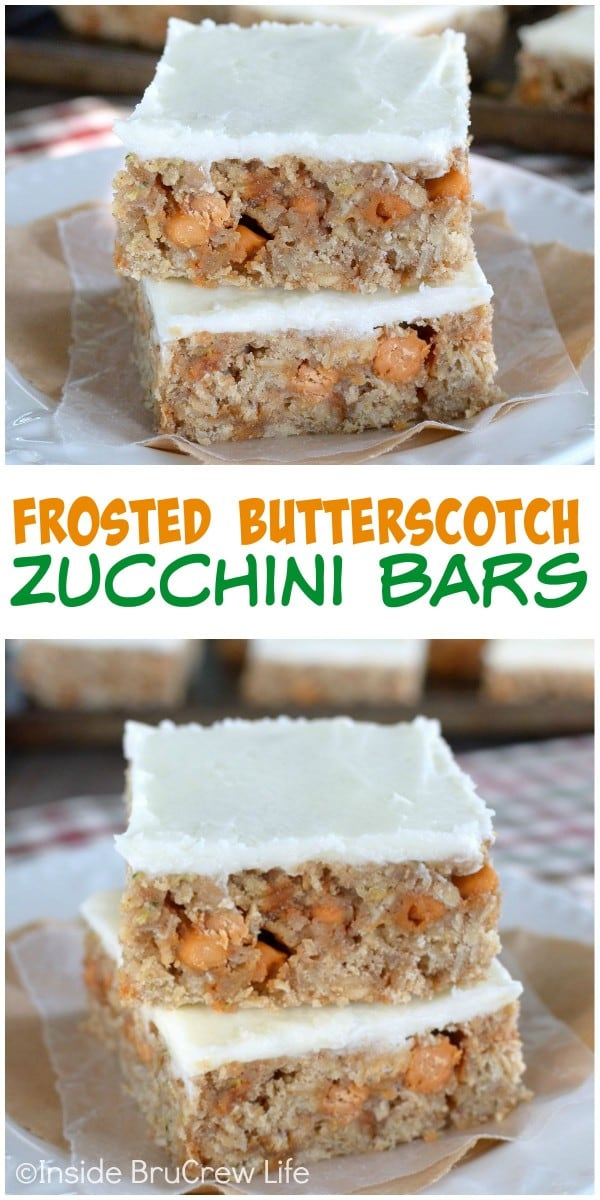 These frosted zucchini bars are full of butterscotch chips and will not last in your house.