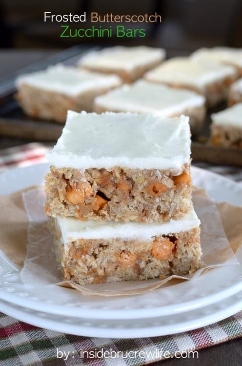 These zucchini bars are loaded with oatmeal, butterscotch, and frosting.