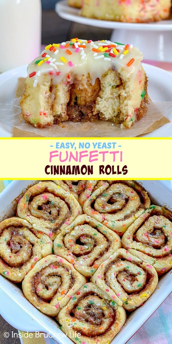 Funfetti Cinnamon Rolls - the gooey cinnamon sugar center and lots of colorful sprinkles make these homemade cinnamon rolls a fun treat. Make this easy recipe for breakfast!