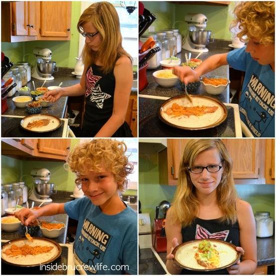 Kids Helping make Seven Layer Burritos
