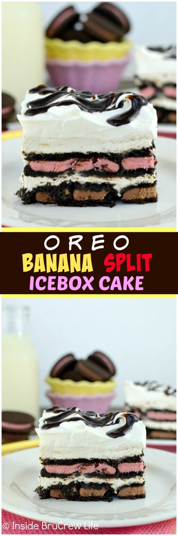 Oreo Banana Split Ice Box Cake - layers of cookies and banana cheesecake makes this an impressive no bake dessert. Awesome picnic recipe.