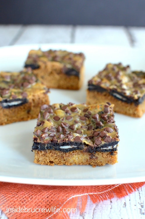 Gooey pumpkin bars topped with Oreo cookies and chocolate chips.  Chocolate and pumpkin are meant for each other!!!