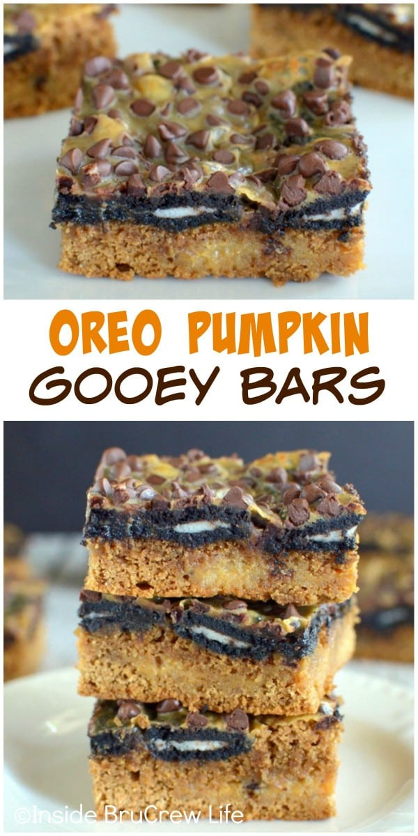 Gooey pumpkin bars with Oreo cookies and chocolate chips is the fall dessert to try this year!