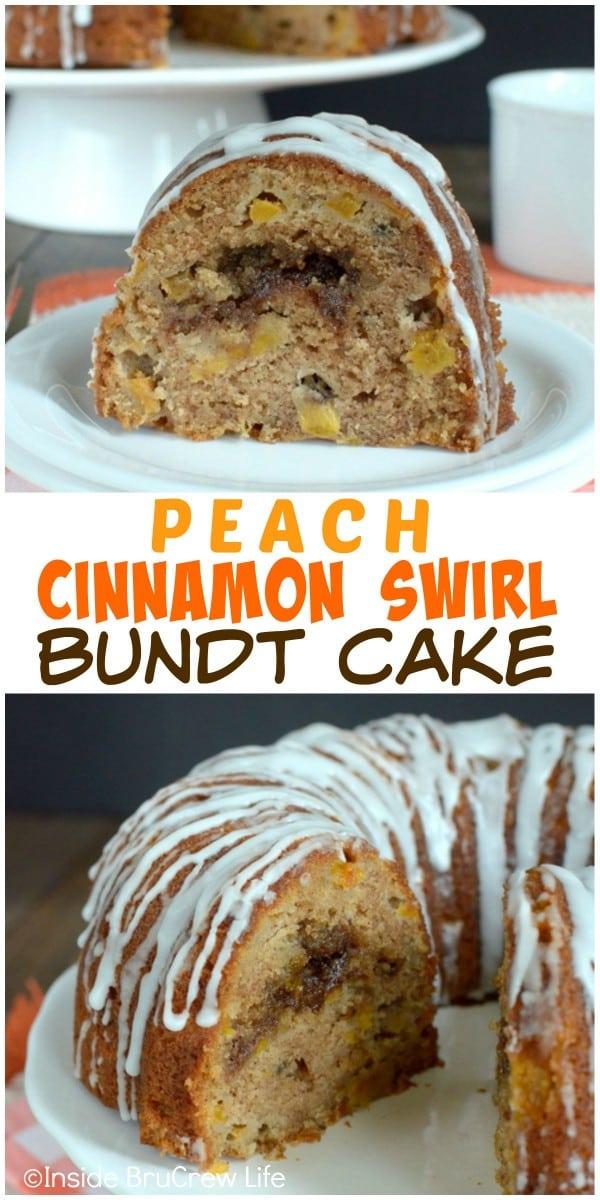 The hidden cinnamon swirl inside this fresh peach bundt cake will make everyone smile!
