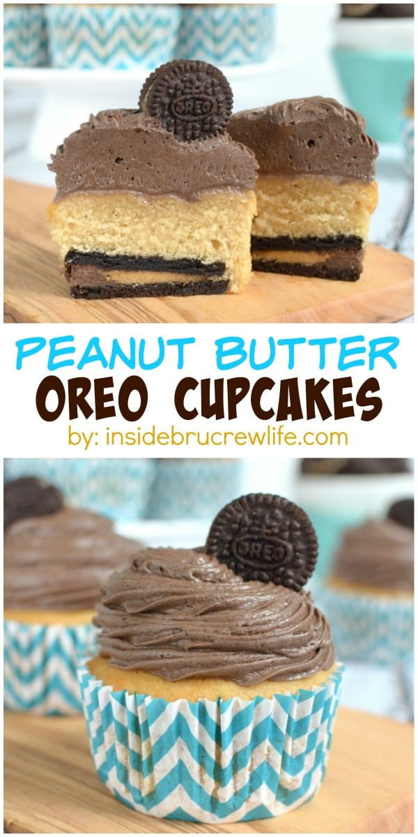 Cupcakes - homemade peanut butter cupcakes with a hidden Oreo cookie ...