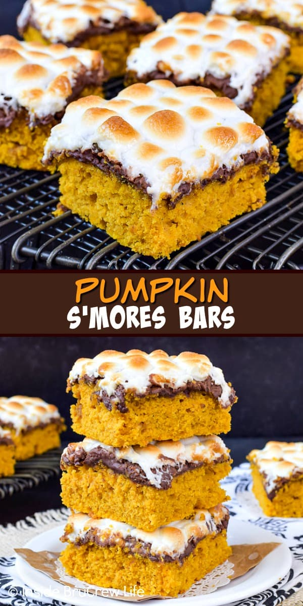 Best Pumpkin S'mores Bars - adding toasted marshmallows and melted chocolate adds a delicious summer flavor to these easy pumpkin bars! Make this recipe for fall parties! #pumpkin #pumpkinbars #smores #chocolate #marshmallow