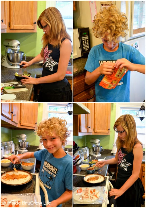 Collage of four pictures of kids helping to make Seven Layer Burritos