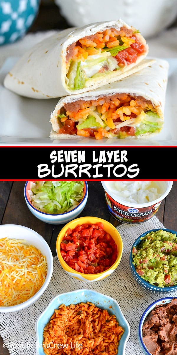 Two pictures of Seven Layer Burritos collaged together with a black text box