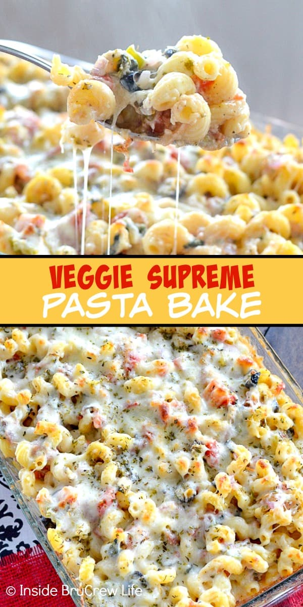 Two pictures of veggie pasta bake collaged together with a yellow text block
