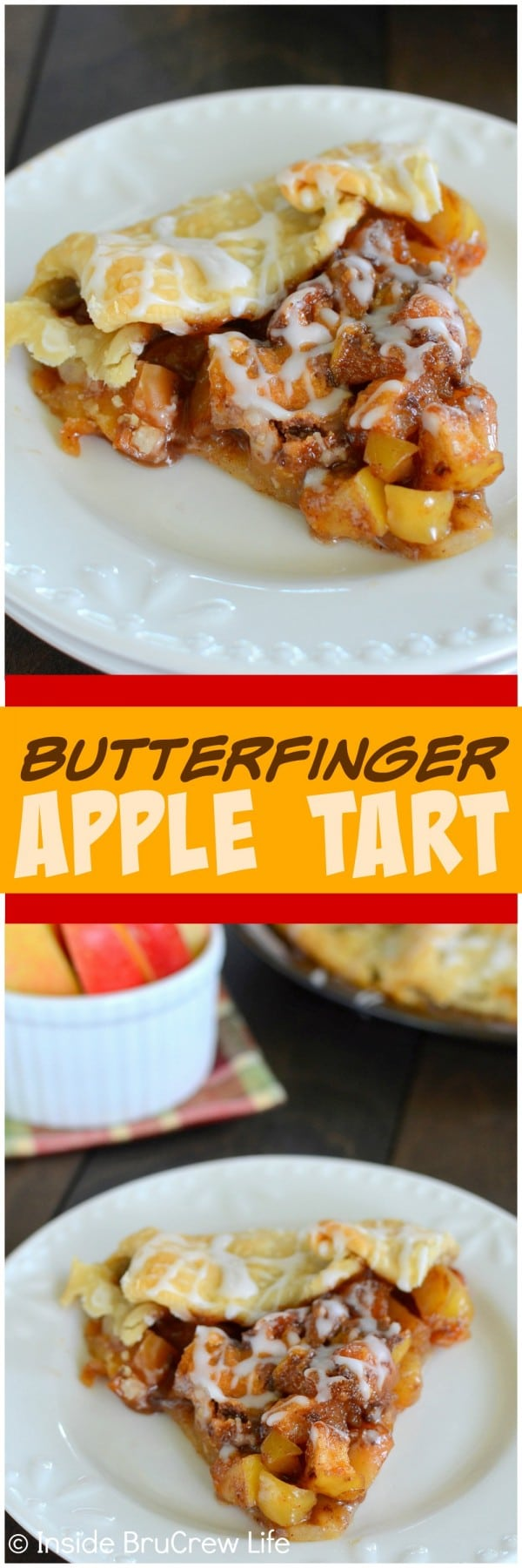 Butterfinger Apple Tart -candy bars and cinnamon apples make this easy pie disappear in a hurry! It's a great dessert recipe!