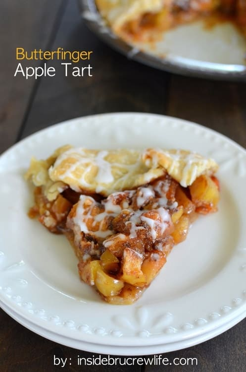 Butterfinger Apple Tart - Butterfinger candy bars and cooked cinnamon apples make this a delicious and fun tart for dessert. Awesome recipe!
