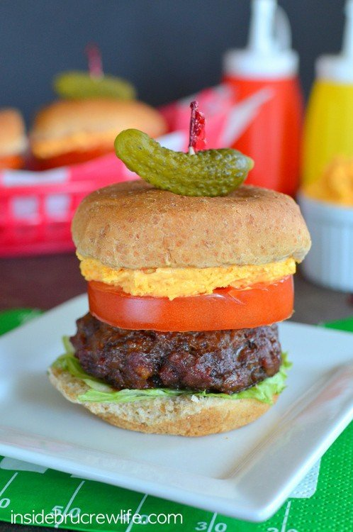 Mini burgers made with cheddar, ranch, and bacon are perfect for grill outs or tailgating.