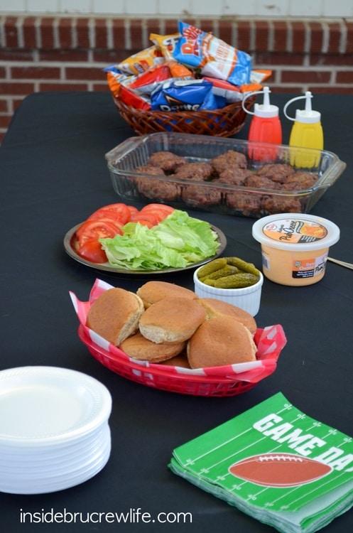 Cheddar Bacon Ranch Sliders table scene