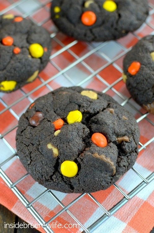 Peanut butter chips and Reese's candies make these chocolate cookies a favorite in our house!