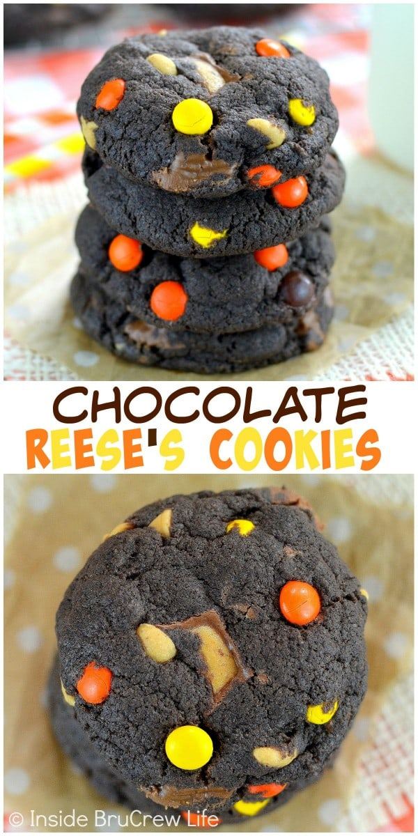 Chocolate Reese's Cookies - adding three kinds of Reese's to these easy chocolate cookies makes them disappear in a hurry. Make this recipe for your cookie jar this week! #cookies #cakemixcookies #reeses #peanutbuttercups