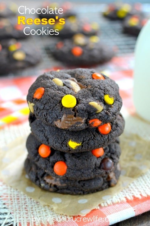 Easy chocolate cookies filled with Reese's candies and peanut butter chips.  My kids devour these every time I make them!
