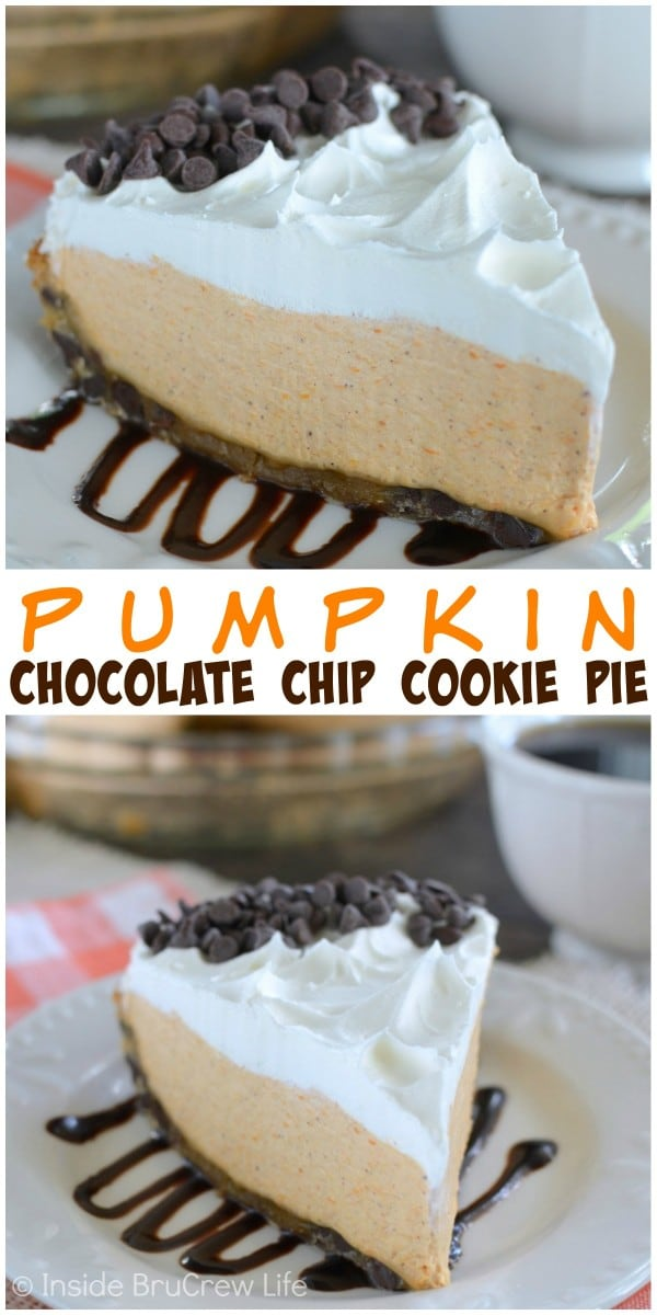 Filling a chocolate chip cookie crust with a fluffy no bake pumpkin mousse makes the best fall pie!