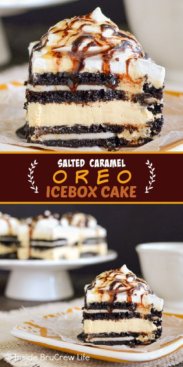 Two pictures of Salted Caramel Oreo Icebox Cake collaged together with a brown text box