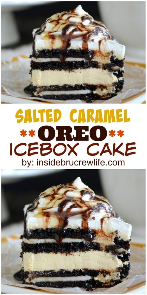 Salted Caramel Oreo Icebox Cake - no bake cheesecake, Oreo cookies, and caramel drizzles make one awesome no bake dessert recipe!