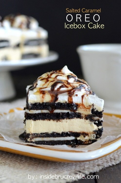 Salted Caramel Oreo Icebox Cake - layers of salted caramel cheesecake and Oreo cookies takes this easy cake over the top!!! Awesome dessert recipe!